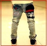 Nowe spodnie dla dzieci chłopcy młodzieży denim z wąsem druku wysokiej jakości niższej cenie modne dżinsy chłopców B031
