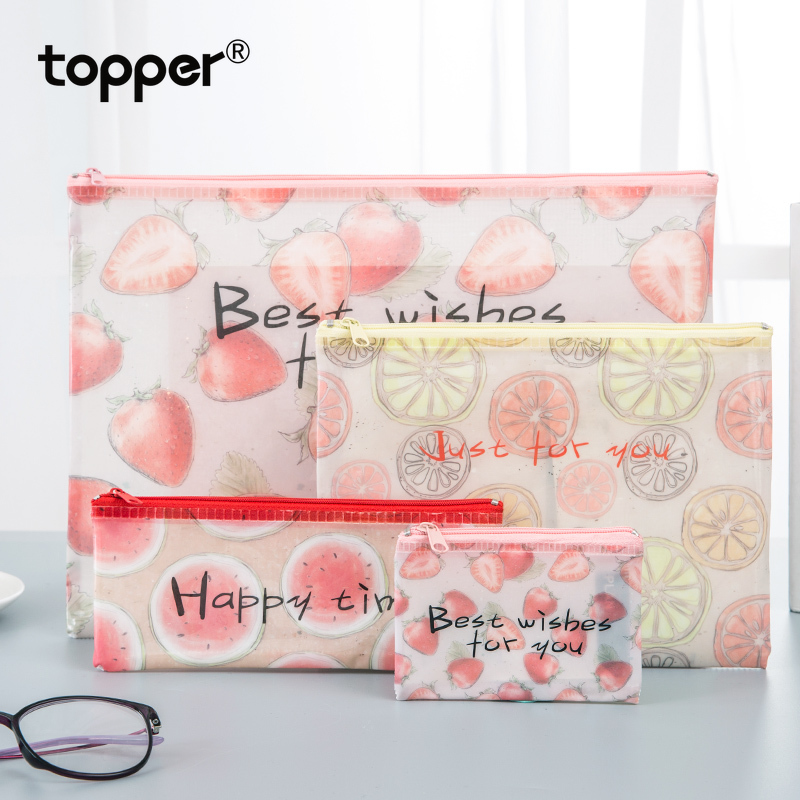 File Folder A4 Transparent Zipper File Bag A5 Large Capacity Female Student With Stationery Storage Bag File Test Paper Folder