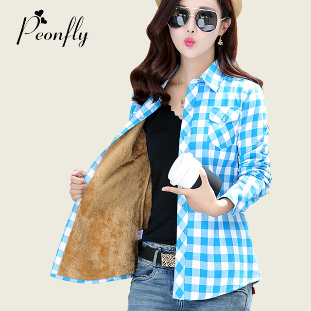New Warm Lattice Woman Long Sleeve cotton Thickening Jacket plaid shirt women tops blouses shirts female camisas chemise femme