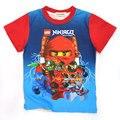 Menino T-camisa 2016 crianças de Verão novo estilo cartton rodada Lego Ninja do pescoço de algodão impressão curto-de mangas compridas T-camisa