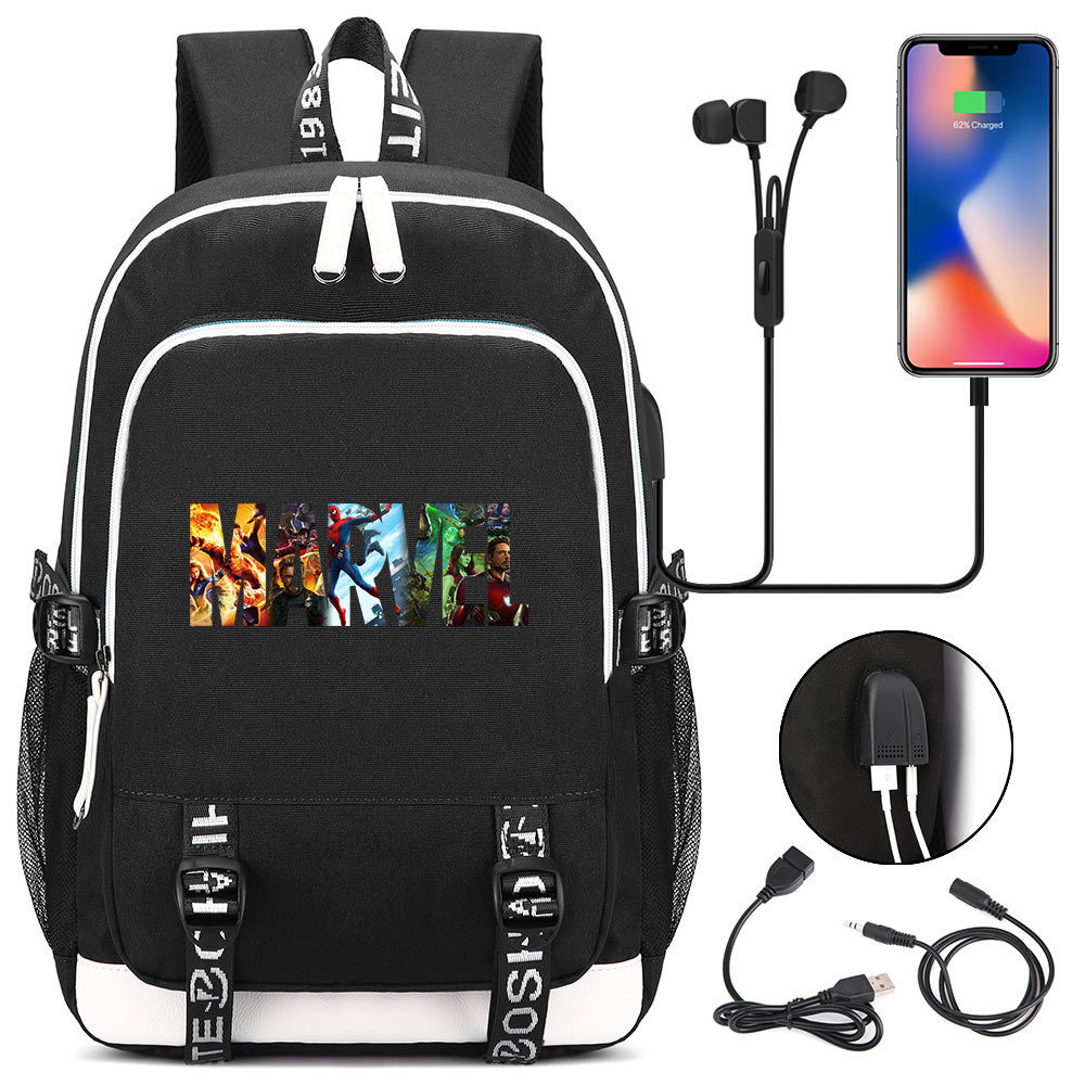 New Comics Marvel Superhero USB Backpack Laptop Bags Cosplay Cartoon Kids Teens Shoulder Travel Bags Student School BagNew Comics Marvel Superhero USB Backpack Laptop Bags Cosplay Cartoon Kids Teens Shoulder Travel Bags Student School Bag