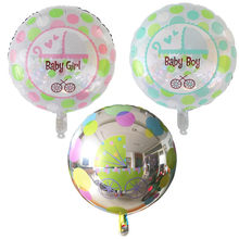 "New 18"" Baby Girl or Boy Round Pram Foil Balloon Baby Shower Christening Birthday(China)"