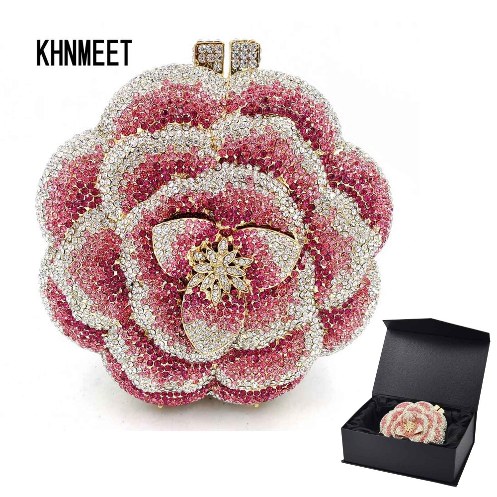 Clutch-Bag Bride-Chain Party-Purse Wedding-Flower Night-Evening-Bag Crystal Pink Women