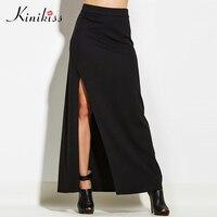 Kinikiss 2017 new spring sexy women skirt black high split beach skirt fashion elegant sexy summer female high waist long skirt