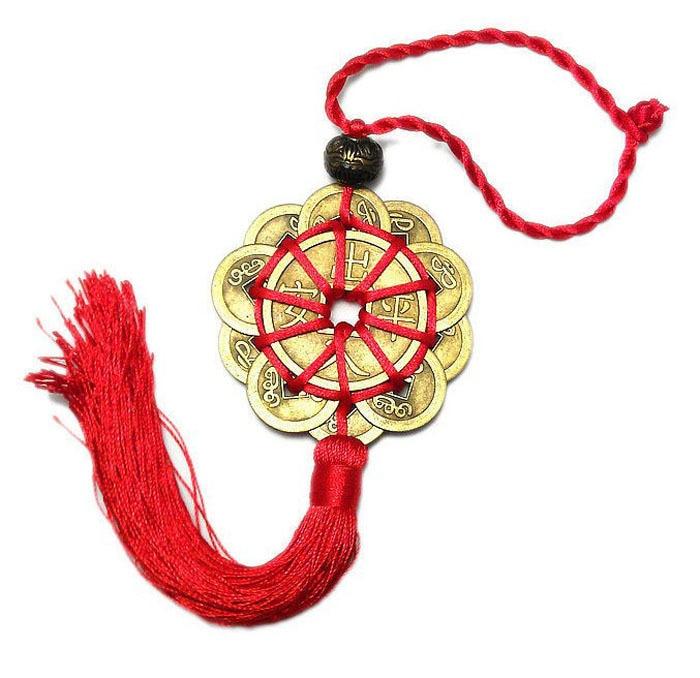 Декор для дома, 10 счастливых красных китайских бантов, набор фэн-шуй, очаровательные древние монеты I CHING, защита процветания, удача