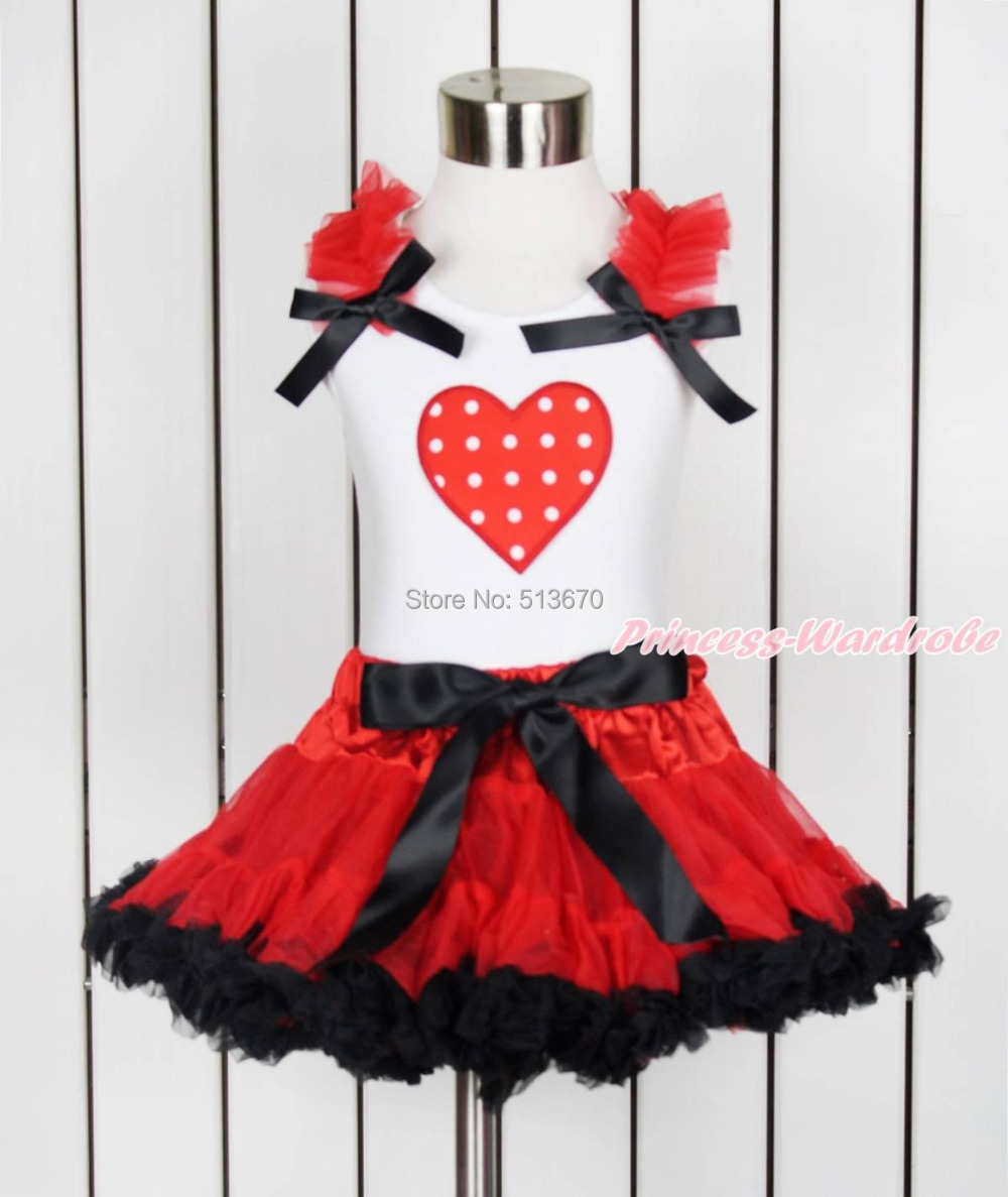 Valentine Red White Dot Heart White Top Shirt Hot Red Black Girl Pettiskirt 1-8Y MAPSA0115 купить