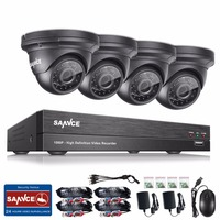 SANNCE 4CH 1080P HD CCTV System 1080P DVR Kit 4pcs 2 0MP Outdoor Security Cameras System
