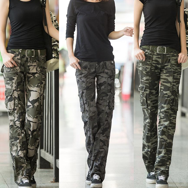 Pantalon Femme 2019 Women Military Camouflage Trousers Loose Straight Camo Cargo Pants Girls Streetwear Jogger Sweat Pants