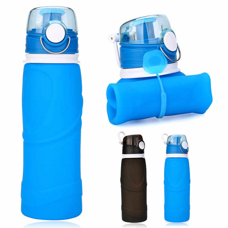 ecfbc51fd4 Bike Bicycle Cycling Water Bottle Silicone 750ml Collapsible Drink Kettle Silicone  Sports Foldable Water Bottle Cycling