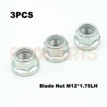 3PCS Grass Trimmer Gear Box Blade Nut M12x1 75 Left Thread