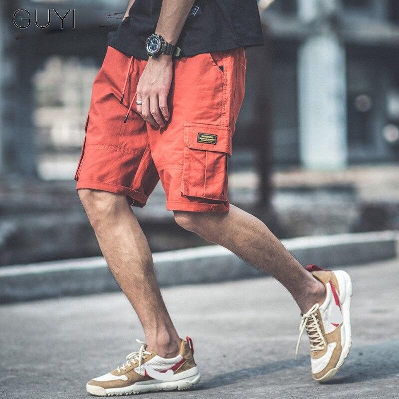 GUYI Orange Solid Cargo Shorts Men Drawstring Elastic Waist Knee Length Pocket Short Male Fashion Casual Sport Summer Streetwear