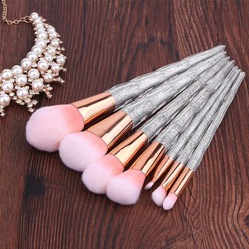 BBL 7pcs Reals Glitter Crystal Makeup Brushes Set Foundation Powder Eyeshadow Eyebrow Lip Blush Brush Beauty Tools Professional professional makeup brush 7pcs