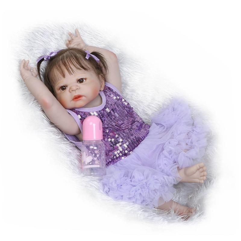 23inch 57cm Full Silicone Reborn Dolls Babies Bebe Reborn Silicona Doll With Toddle Play House Lifelike Bebe Toys For Children npk doll 23inch 57cm full silicone reborn dolls reborn dolls babies doll with flower clothes lifelike bebe toys for children
