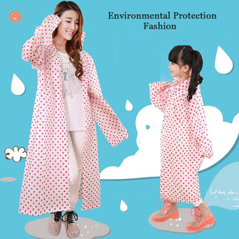 Hooded Raincoat Women Waterproof Men Kids Long Cape De Pluie Transparent Cute Womens Raincoat Impermeable Girls Rain QQG364