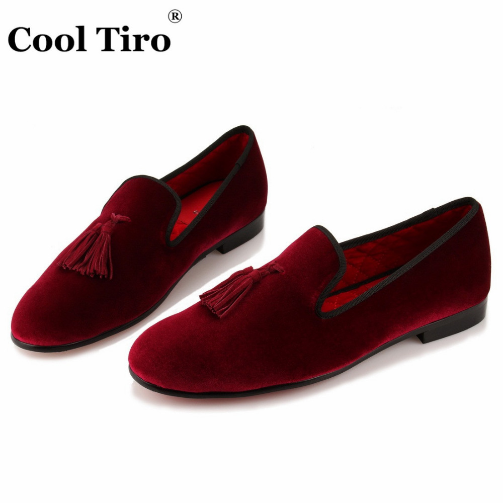 62d1260181e COOL TIRO Tassel Men Loafers Red Velvet Slippers Smoking Slip on ...
