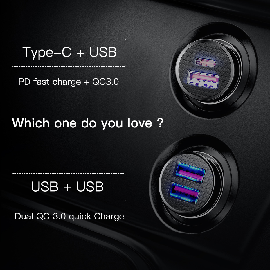 Baseus 30W Quick Charge 4.0 3.0 USB C Car Charger For Mobile Phones | GeekyViews