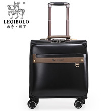 Wholesale!16inch pu trolley luggage bags on universal wheels with rod,black/brown/red/blue available