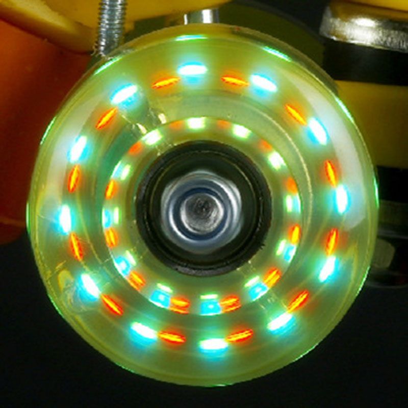 Hot Original Light Wheels Without Bearings Led Flashing Traditional Double Roller Skates Wheel PU Round Roller Shoes Wheels IB80