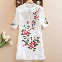 2019 Spring Summer Ethnic Style Women's Floral Embroidery Blouse V neck Shirts Casual Blue White Short Sleeve Tops Plus Size