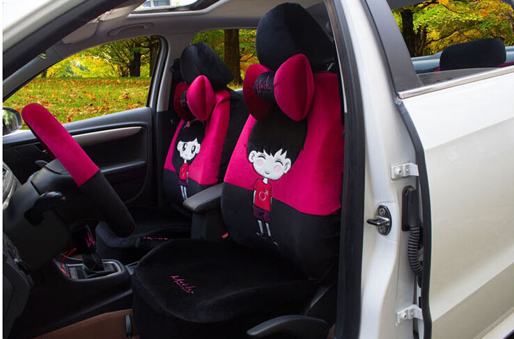 18pcs The New Cute Women Car Plush Cartoon Seat Covers Full Set Of Four Seasons General Charter In Automobiles From