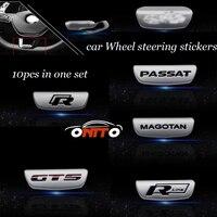 10pcs/set Alloy 3D STICKERS Metal Car emblem Auto wheel Steering stickers for Passat B6 B7 CC Golf Magotan GTS Rline R Decals