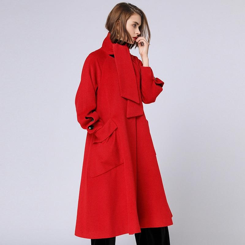 Manteaux Femme Écharpe Laine De 4xl Black khaki Col Femmes Oversize Tranchée red Plus Manteau Outwear La Mélange Taille Hiver Automne Rouge 2018 CUUwFxqaS