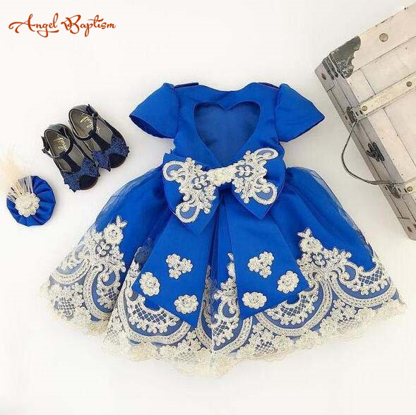 Short sleeves Royal blue ball gown baby 1 year birthday dresses flower girl dress lace appliques tea party outfit for photoshoot