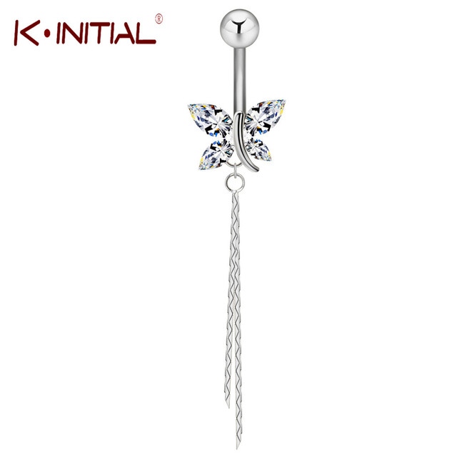 Kinitial New 1Pcs Sexy Dangle Navel Belly Button Rings Gold Belly