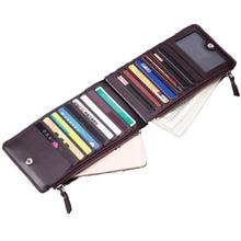 Neue einfache hochwertige PU-Leder Kupplung Leder Großhandel Karte Brieftasche Handytasche schlank Doppel-Reißverschluss-Geldbörse