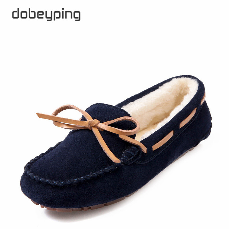 2017 Winter Plush Boat Shoe Cow Leather Women Shoes Keep Warm Moccasins Woman Slip On Female Flats Fur Loafers Size 35-41