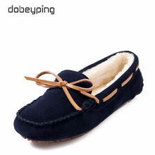 2017 Winter Plush Boat Shoe Cow Leather Women Shoes Keep Warm Moccasins Shoes Woman Slip On Female Flats Fur Loafers Size 35-41