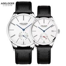 AGELOCER Швейцарский Для мужчин механические часы пара черный кожаный часы Водонепроницаемый часы Дата Для женщин Для мужчин s наручные часы