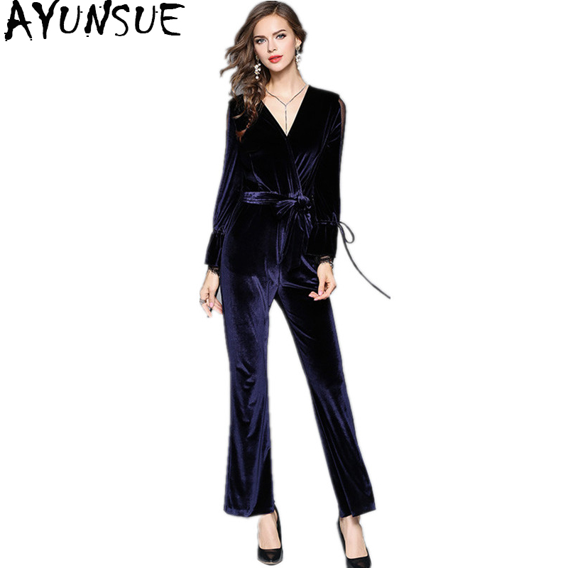 где купить AYUNSUE 2018 New Fashion Velvet Jumpsuits Elegnat Woman Rompers Womens Jumpsuit Trousers Long Sleeve Overalls For Women WYQ1073 по лучшей цене