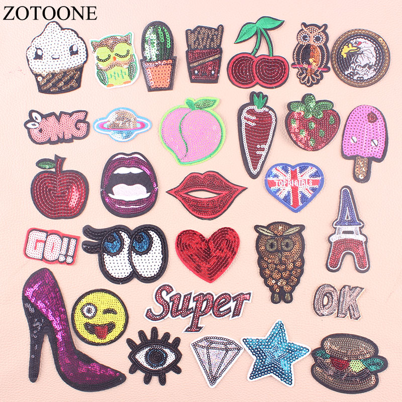ZOTOONE Applique Sequin Eye Flag Food Patches for Clothing Iron Stripes IOn Cloth Embroidered Sticker Sew on Pacthes For Jeans E
