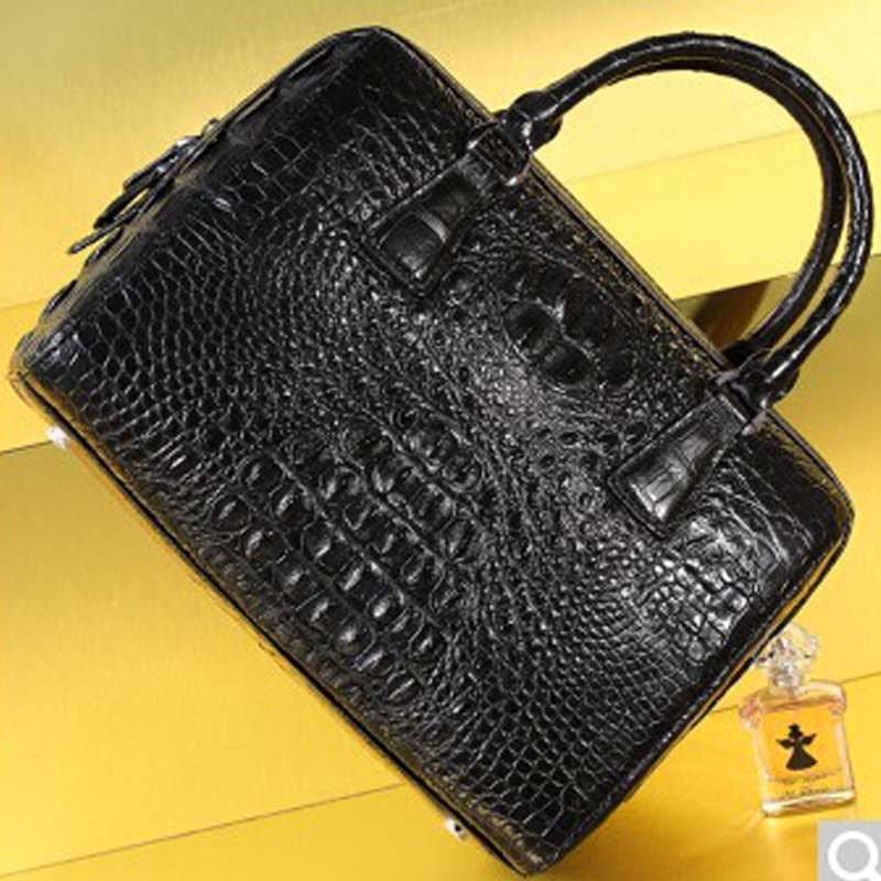 где купить Bev new lady leather handbag crocodile skin Boston Bag No stitching large capacity European and American fashion Female bag blac по лучшей цене