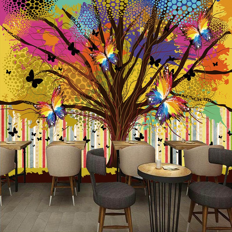 Colorful Rooms With A View: Photo Wallpaper Colorful Hand Painted Tree Butterfly Mural