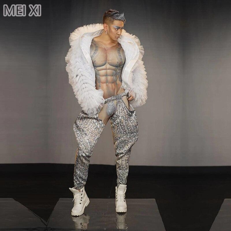 Sexy Man Tattoo Tattoo Print Jumpsuit Nightclub Bar Concert DJ Singer/dancer Costume