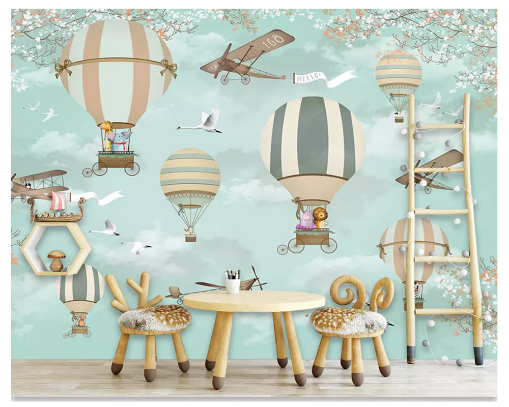 beibehang Formaldehyde-free classic suitable for children decorative painting wall paper hot air balloon background 3d wallpaper