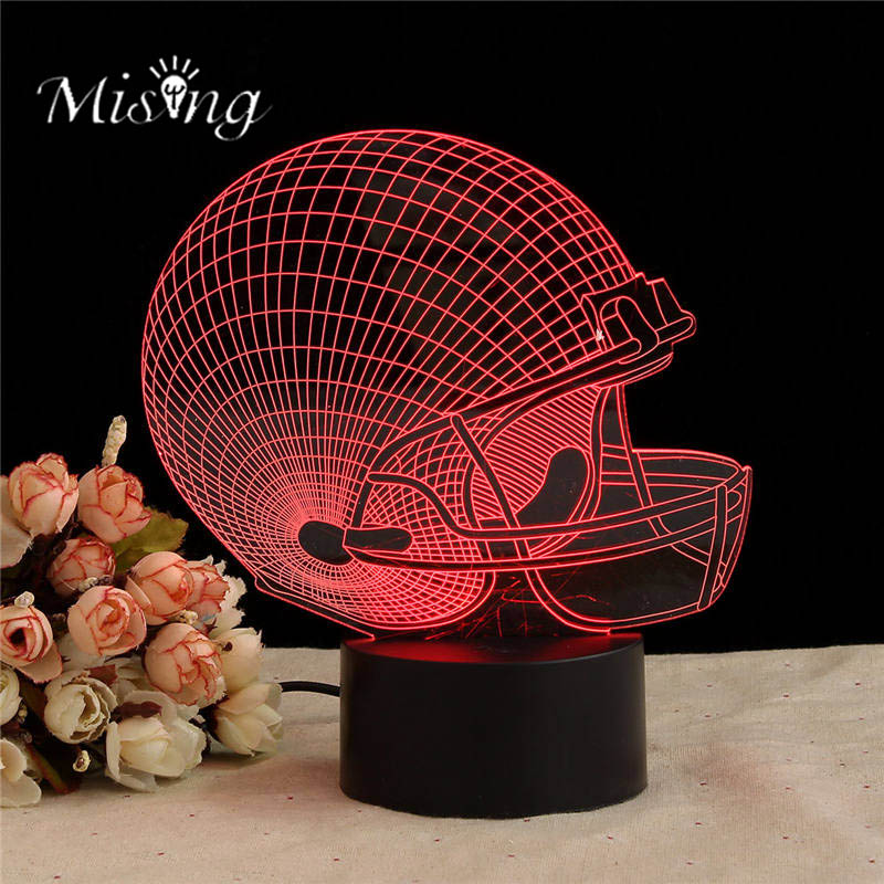 Mising 7 Colorful LED Rugby Hat 3D Touch Control Changing USB Desk Table Light Lamp Acrylic Plate ABS Base Lights for Home Decor