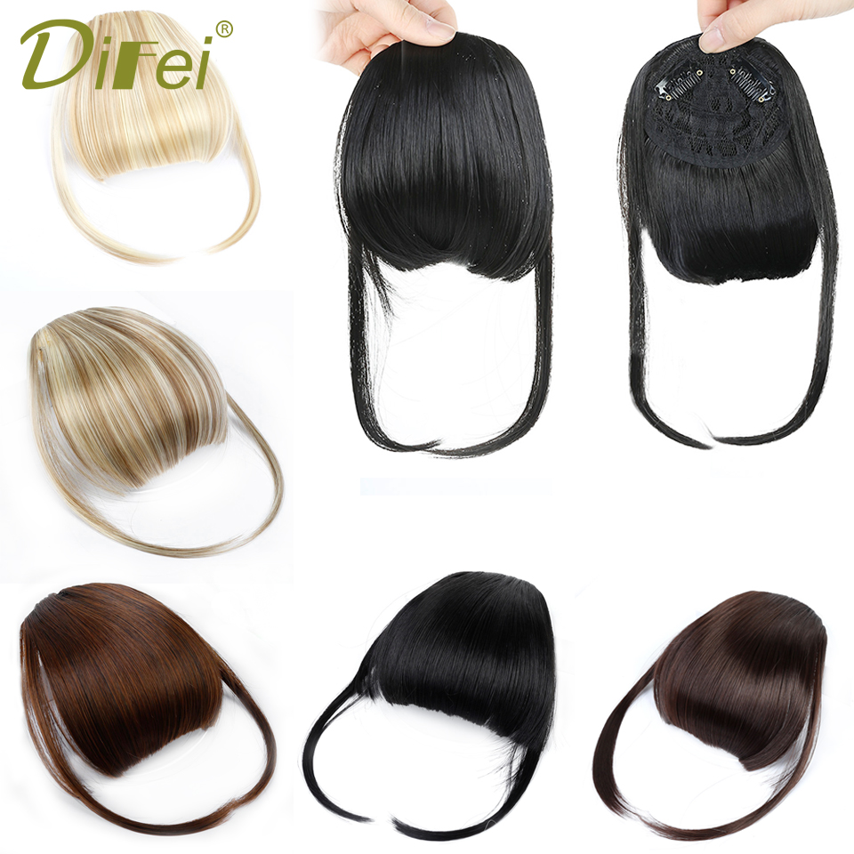DIFEI Black Brown Fake Fringe Clip In Bangs Hair Extensions With High Temperature