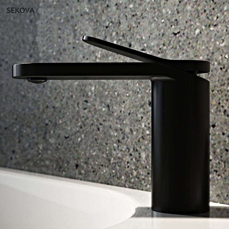 Brass Chrome Plated Black White Paint Cold And Hot Basin Faucet Single Hole Deck Mounted Washbasin