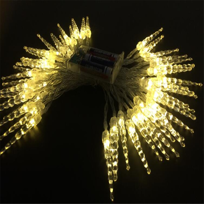 Holiday Lighting 7 5M 50 LED Icicle Home Xmas Decoration Christmas Battery Lights Outdoor Waterproof Fairy Curtain String Lights in LED String from Lights Lighting