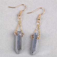 Natural Stone Crystal Jewelry Earrings Handmade DIY Original Electroplated Silver Column Pendant