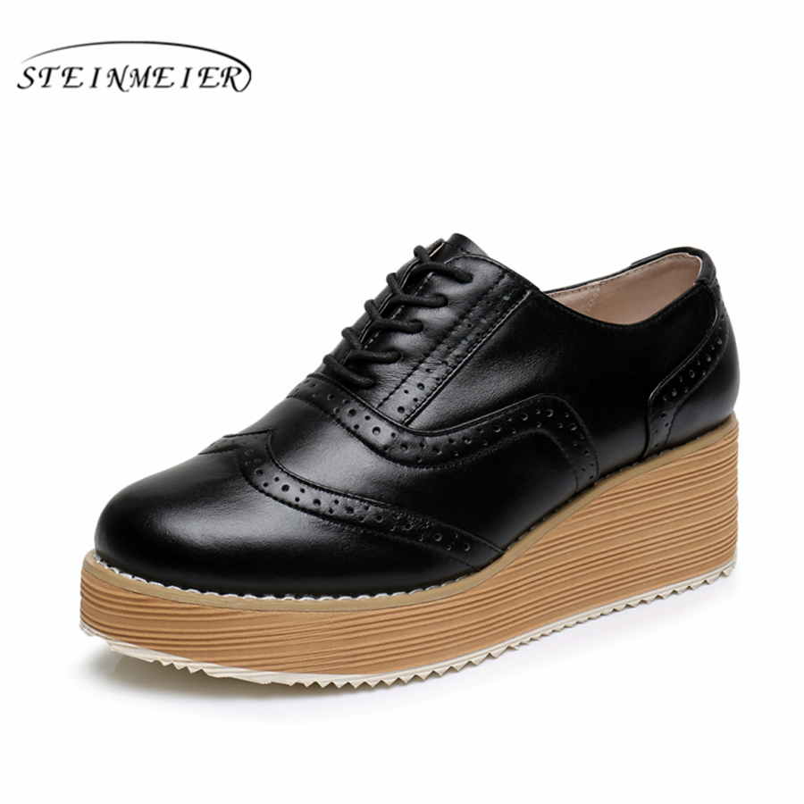 Cow leather Flat Platform shoes US size 9 designer vintage round toe handmade black white 2017 sping oxford shoes for women cow leather big woman us size 9 designer vintage flat shoes round toe handmade black white oxford shoes for women fur
