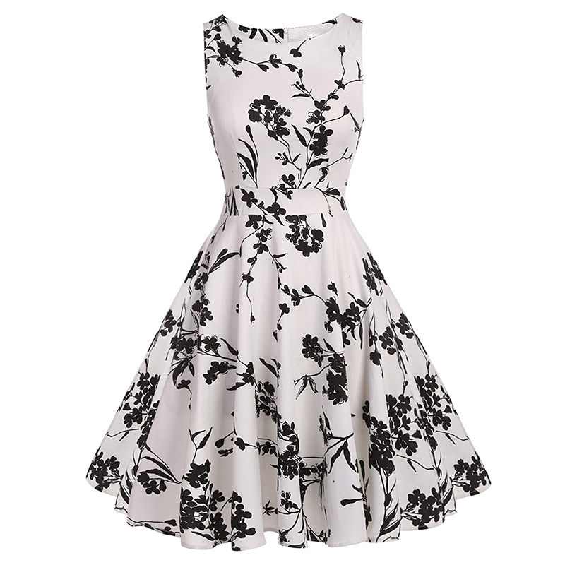 Kostlish Cotton Summer Dress Women 2017 Sleeveless Tunic 50s Vintage Dress Belt Elegant Print Rockabilly Party Dresses Sundress (75)