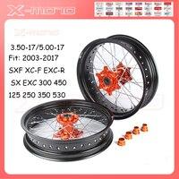 3.5/5.0*17 Supermotard Wheels 2008 2007 Orange Hub Black Rim For KTM SXF EXC R XC F SX EXC 300 450 125 250 350 530 2003 2017