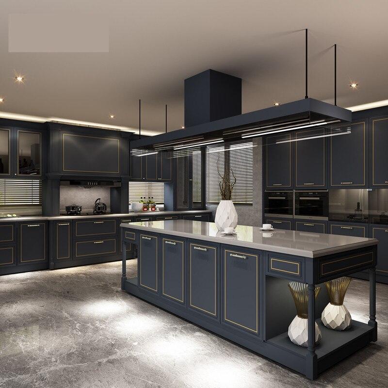 Dark Grey Elegant Color Luxury Modern Design Melamine Wooden Kitchen Cabinet