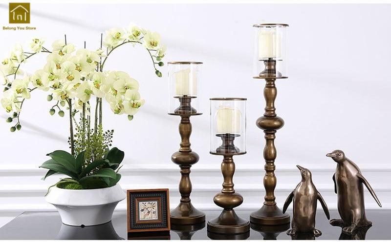 Decor Metal Candle Holder Bronze Candleholder Candle Stand Oil Lamps Moroccan Lantern Vintage Wedding Candlestick Stand Jkl074 Home Decor Candle Holders
