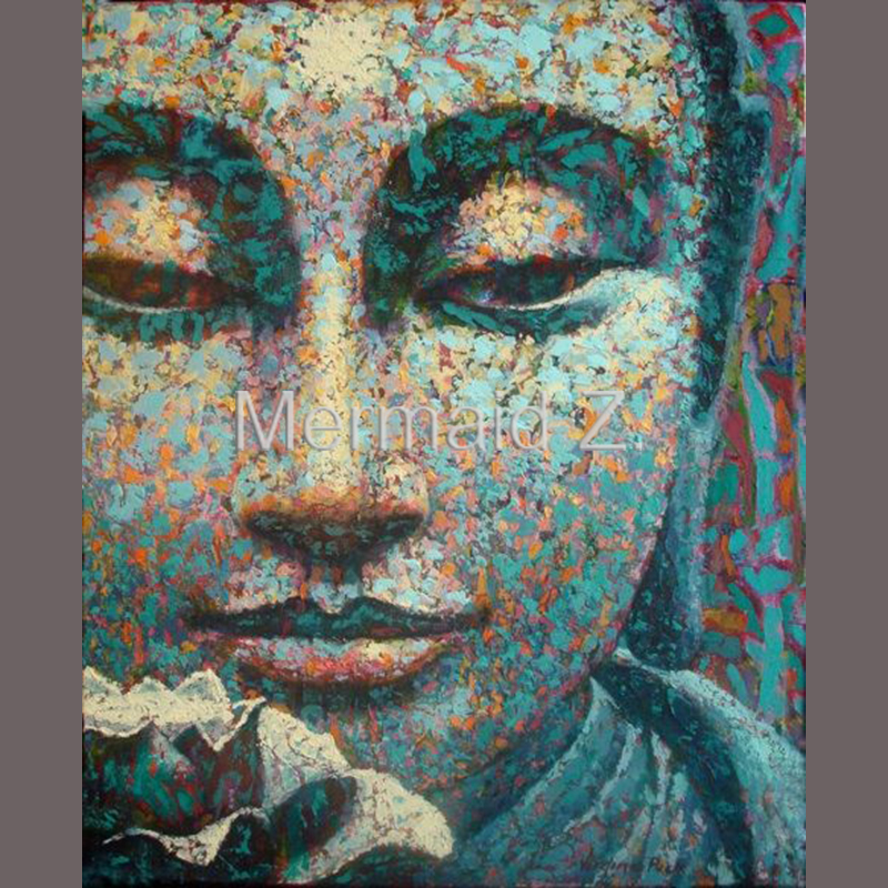 hand made Thai oil painting Buddha Retro face classical Head Portrait Buddha art India Oil