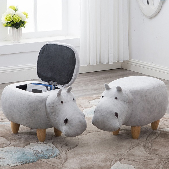 Cute Hippos Style Stools Wood Footstool Chair With Storage Box Inside Kid's Sofa Furniture Cartoon Ottomans Home Decor Bench(China)